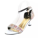 Stiletto Color Matching Open Toe Round Head Sandals for Women (Color:White Size:37)