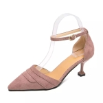 Simple and Stylish Wild Thin Heel Suede Shoes for Women (Color:Purple Size:35)
