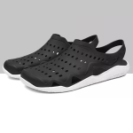 Stylish and Comfortable Breathable Wearable Hole Shoes Sandals for Men (Color:Black White Size:45)