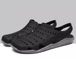 Stylish and Comfortable Breathable Wearable Hole Shoes Sandals for Men (Color:Black Grey Size:45)