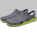 Stylish and Comfortable Breathable Wearable Hole Shoes Sandals for Men (Color:Green Grey Size:43)