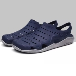 Stylish and Comfortable Breathable Wearable Hole Shoes Sandals for Men (Color:Blue Grey Size:45)