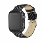 Genuine Leather Carbon Fiber Strap + Frame for Apple Watch Series 3 & 2 & 1 38mm