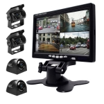 K0164 7 inch HD Car 18 IR Night Vision Rear View Backup Four Cameras Rearview Monitor