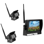 K0232 7 inch 140 Degrees Wide Angle HD Car Rear View Backup Dual Cameras Rearview Monitor Split Screen