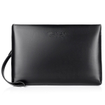 W100  PU Leather Business Men Carry Bag Envelope Bag (Black)