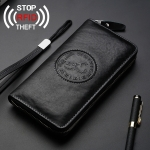 W111 Antimagnetic RFID Men Cowhide Leather Multifunctional Wallet Business Handbag with Gift Box