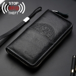 W112 Antimagnetic RFID Men Cowhide Leather Multifunctional Wallet Business Handbag with Gift Box