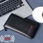 W115 Antimagnetic RFID Men Leather Multifunctional Business Passport Holder Large Capacity Wallet Pocket (Black)