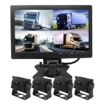 PZ612-4AHD IP67 120 Degree Car AHD 1080P 2 Megapixels 10 inch 4-Way Rearview Mirror Monitor, Night Vision Full Color, with Video Function