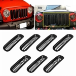 7 PCS Car Front Racing Front Grille Grid Insect Net for Jeep Wrangler 2007-2017