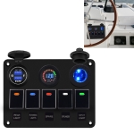 CS-847A1 Multi-function Combination Switch Panel Color Screen Voltmeter + Cigarette Lighter Socket + 5 Way Switches + Dual USB Charger for Car RV Marine Boat