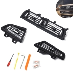 Car Plating Center + Right + Left Console Grill Dash AC Air Vent 64229166883 / 64229166884 / 64229166885 for BMW 5 Series, with Installation Tools