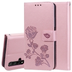Rose Embossed Horizontal Flip PU Leather Case with Holder & Card Slots & Wallet for Huawei Honor 20(Rose Gold)