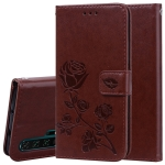Rose Embossed Horizontal Flip PU Leather Case with Holder & Card Slots & Wallet for Huawei Honor 20 Pro(Brown)
