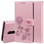 Rose Embossed Horizontal Flip PU Leather Case with Holder & Card Slots & Wallet(Rose Gold)