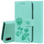 Rose Embossed Horizontal Flip PU Leather Case with Holder & Card Slots & Wallet(Green)