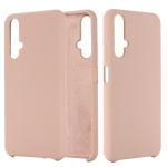 Solid Color Liquid Silicone Dropproof Protective Case for Huawei Honor 20(Pink)