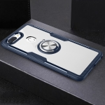 Scratchproof TPU + Acrylic Ring Bracket Protective Case For OPPO R15(Navy Blue)