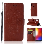 Wind Chime Owl Embossing Pattern Horizontal Flip Leather Case with Holder & Card Slots & Wallet For Motorola Moto One (P30 Play)(Brown)