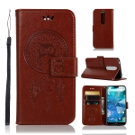 Wind Chime Owl Embossing Pattern Horizontal Flip Leather Case with Holder & Card Slots & Wallet For Nokia 7.1(Brown)
