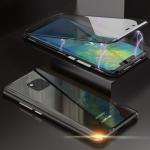 Ultra Slim Double Sides Magnetic Adsorption Angular Frame Tempered Glass Magnet Flip Case for Huawei Mate 20 Pro (Black)
