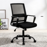 TO-329 Computer Chair Office Chair Home Back Chair Comfortable Simple Desk Chair Black Frame Sliding Wheelchair (Black)
