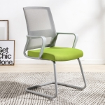 TO-329 Computer Chair Office Chair Home Back Chair Comfortable Simple Desk Chair Gray Frame Bow Chair (Green)