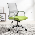 TO-329 Computer Chair Office Chair Home Back Chair Comfortable Simple Desk Chair Gray Frame Sliding Wheelchair (Green)