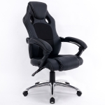 0653 Computer Office Chair Home Gaming Chair Rotating Lifted Lounge Chair with Aluminum Alloy Feet (Black)