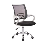 9050 Computer Chair Office Chair Home Back Chair Comfortable White Frame Simple Desk Chair (Black)