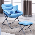 Creative Lazy Folding Sofa Living Room Single Sofa Chair Tatami Lounge Chair with Footrest / Pillow (Blue)