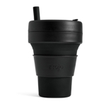 Stojo Detachable Portable Silicone Cup with Straw, Capacity: 473mL(Black)