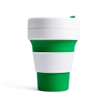 Stojo Detachable Portable Silicone Cup without Straw, Capacity: 335mL(Green)