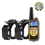 880-2 800 Yards Rechargeable Remote Control Collar Dog Training Device Anti Barking Device(Black Black)