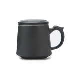 Coarse Pottery Large Capacity Mug Water Cup Travel Tea Set, with Filter & Cover & Handy Bag (Black)
