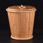 Bamboo Drainage Tea Slag Bucket Kung Fu Teaware Accessories with lid, Size: 27x28cm