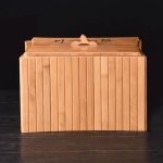 Bamboo Drainage Tea Slag Bucket Kung Fu Teaware Accessories with lid, Size: 29.9×21.5cm