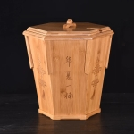 Bamboo Drainage Tea Slag Bucket Kung Fu Teaware Accessories with lid, Size: 31x31cm