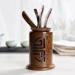 5 in 1 Tea Needle + Tea Clamp + Teaspoon + Tea Steak + Tea Barrel Kungfu Teaism Tea Set Teaware Accessories, Wenge Semi-circle