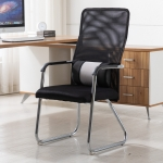 Simple Household Mesh Computer Chair Conference Chair Fixed Chair with Waist Cushion (Black)