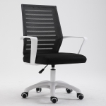 Home Leisure Computer Chair Office Staff Conference Chair White Frame Lifting Nylon Foot (Black)