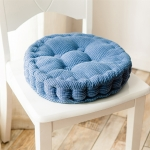 Thickened Round Computer Chair Cushion Floor Mat for Office Classroom Home, Size:43x43cm (Blue)
