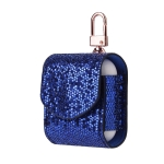 Sequined Flip PU Leather Wireless Bluetooth Earphone Protective Case for Apple AirPods 1 / 2, with Metal Buckle (Blue)