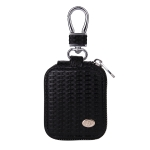 Fashion Woven Pattern Zipper PU Leather Wireless Bluetooth Earphone Protective Case for Apple AirPods 1 / 2, with Metal Buckle(Black)