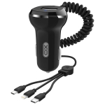 XO CC-16 3 in 1 3.1A Universal Micro USB + Type-C + 8 Pin to USB Single-port Car Charger with Spring Charging Cable (Black)