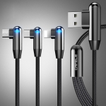 CAFELE 3 In 1 8 Pin + Micro USB + Type-C / USB-C Atomic Series 90 Degree Bend Design Charging Data Cable, Length: 1.3m (Black)