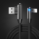 CAFELE 8 Pin to USB Atomic Series 90 Degree Bend Design Charging Data Cable, Length: 1.2m (Black)