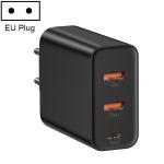 Baseus 60W PPS 3-Ports (Dual USB + USB-C/ Type-C) Output Quick Charger, EU Plug(Black)