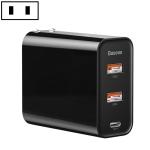 Baseus 60W PPS 3-Ports (Dual USB + USB-C/ Type-C) Output Quick Charger, CN Plug(Black)